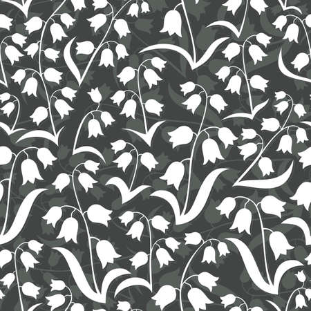 monochrome delicate silhouette flowers with leaves lilies of the valley type on dark background floral seamless pattern Vector