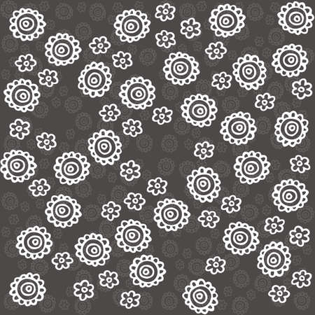 monochrome delicate white lace flowers on dark gray background cartoon style floral seamless pattern Vector