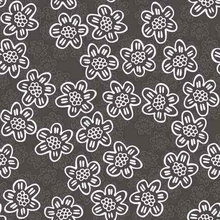 monochrome delicate white lace flowers with petals with lines on dark gray background cartoon style floral seamless pattern Vector