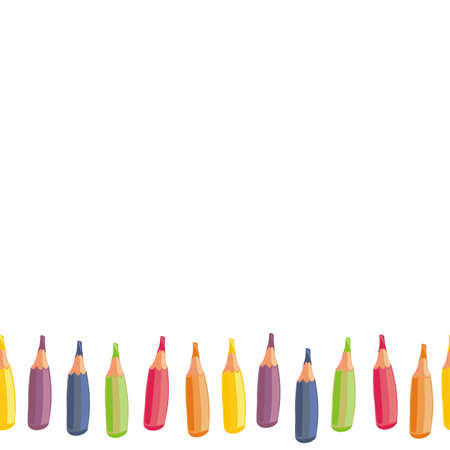 school border: colorful crayons cartoon style horizontal seamless bottom border on white background