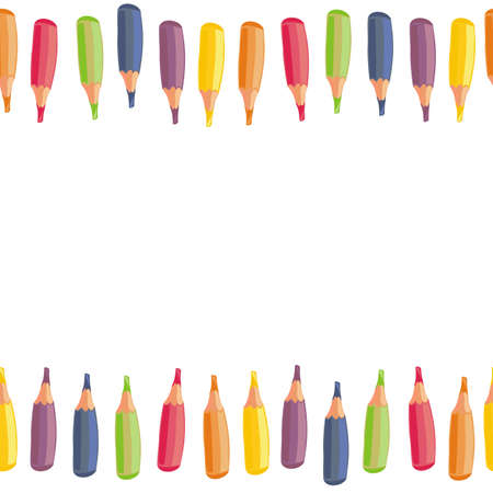 colorful crayons cartoon style horizontal seamless top and bottom border on white background  Illustration