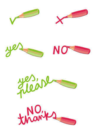negation: colorful crayons illustrations of negation and acceptance green yes please red no thanks text on white background cartoon style set  Illustration