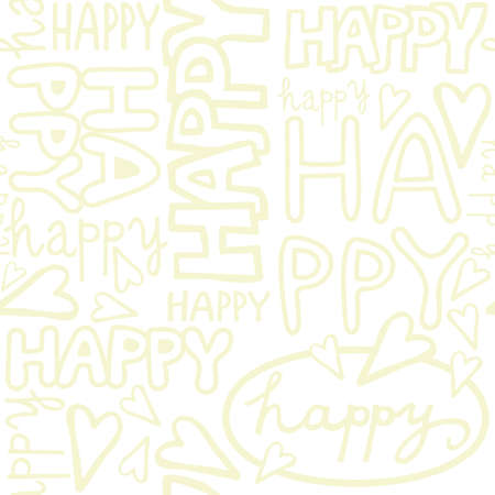 happy words and hand drawn hearts monochrome retro beige graffiti seamless pattern on white background Stock Vector - 19425238
