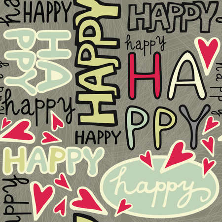 happy words and hand drawn hearts monochrome retro colors graffiti seamless pattern on dark background Stock Vector - 19425233