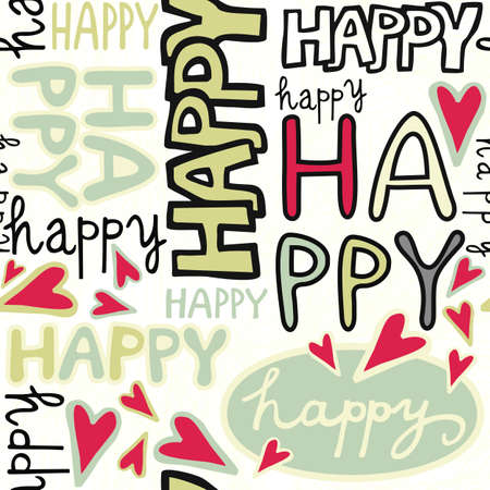 happy words and hand drawn hearts monochrome retro colors graffiti seamless pattern on white background  Vector