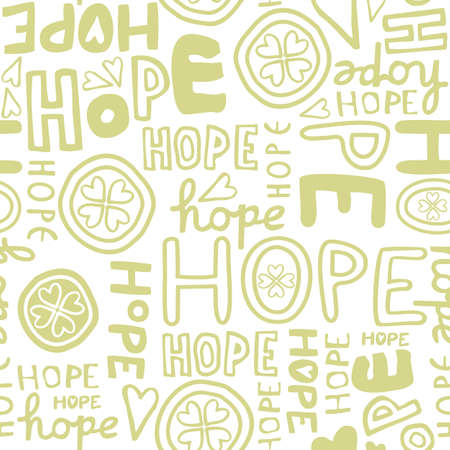 hope retro colors hand drawn light green monochrome graffiti seamless pattern on white background Stock Vector - 19425242