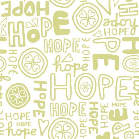 hope retro colors hand drawn light green monochrome graffiti seamless pattern on white background Stock Vector - 19425242