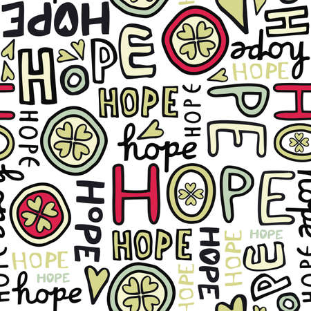 hope retro colors hand drawn graffiti seamless pattern on white background Vector