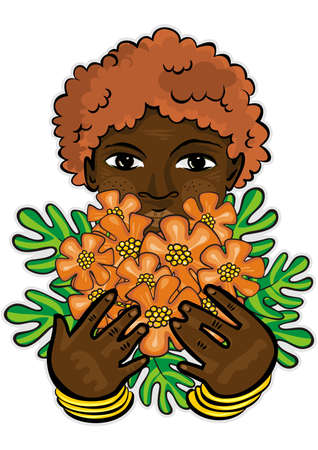 young school preschool african child holding orange exotic flowers as a gift Mother s Father s Day   Birthday type card colorful illustration on white background  Vector