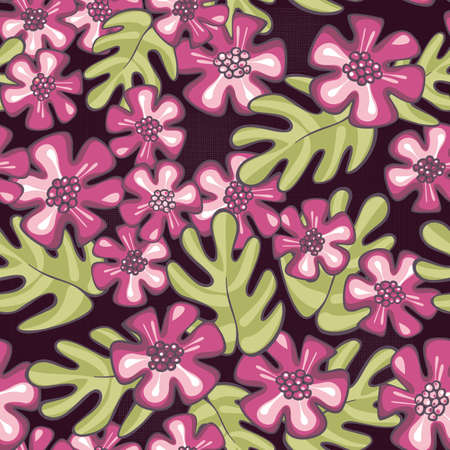 wild tropical exotic pink flowers and green leaves on purple patterned background floral seamless pattern Vector