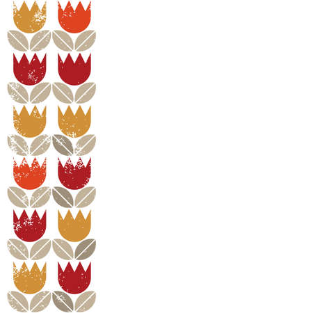 retro red orange yellow tulips and brown beige leaves on white grunge background two rows seamless vertical border  Vector