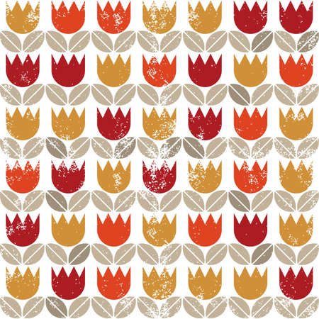 retro red orange yellow tulips and brown beige leaves on white grunge background seamless pattern Vector