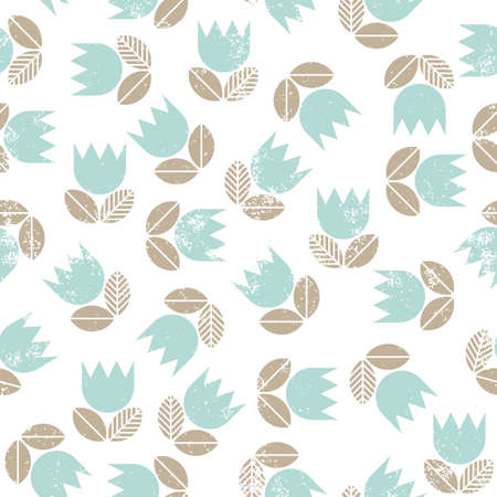 retro blue tulips with beige leaves messy meadow on white background seamless spring summer pattern Vector