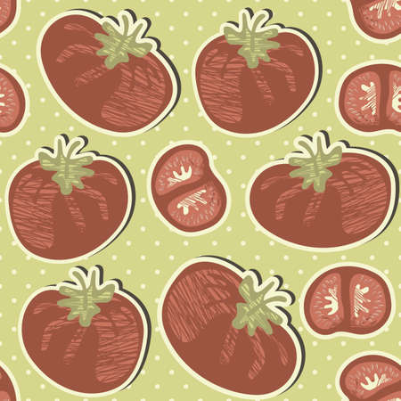 retro whole tomatoes and slices on polka dots with green background vegetable seamless pattern  Vector
