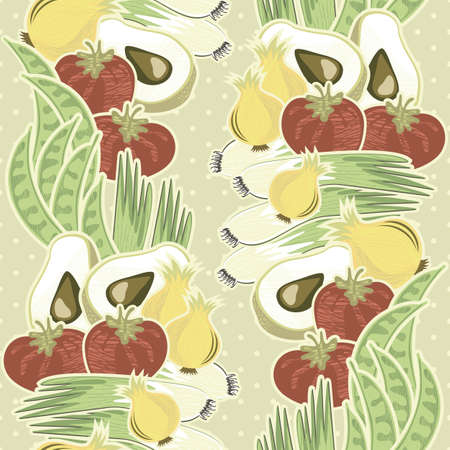whole onions leeks tomatoes green beans and half of avocado vertical on polka dots on beige background retro vegetable seamless pattern  Vector