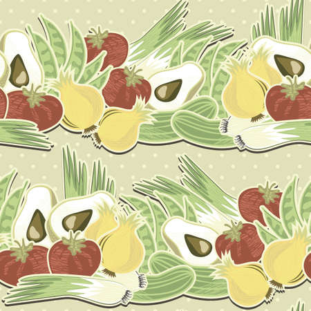 whole onions leeks tomatoes cucumbers green beans and half of avocado horizontal on polka dots on beige background retro vegetable seamless pattern  Vector
