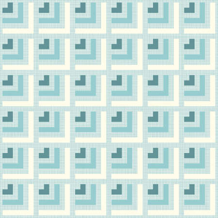 delicate blue beige turquoise arrows regular geometric elements in rows on blue background seamless pattern Vector