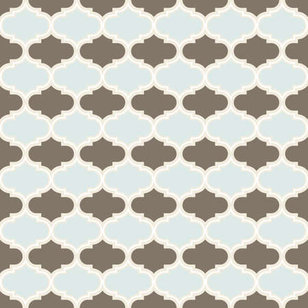 delicate blue brown white retro shaped regular geometric elements in horizontal rows on beige background seamless pattern Vector