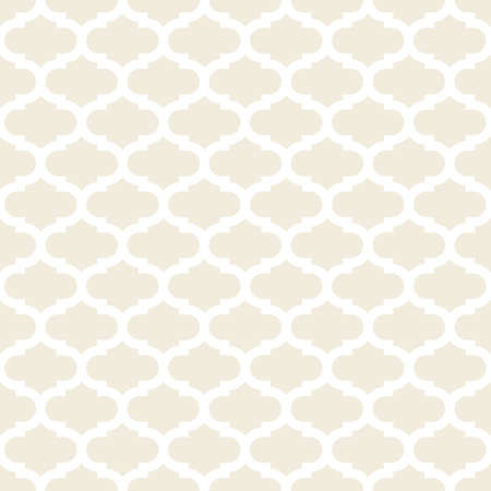 gentle: delicate light beige retro shaped regular geometric elements in horizontal rows on white background seamless pattern Illustration