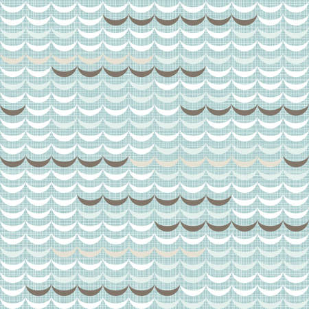 delicate light blue beige brown waves regular geometric elements in horizontal rows on blue background seamless pattern Illustration