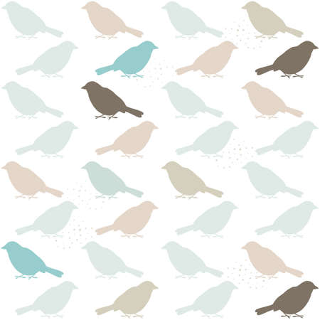 delicate blue beige brown bird silhouette in regular rows on white  background seamless pattern Vector