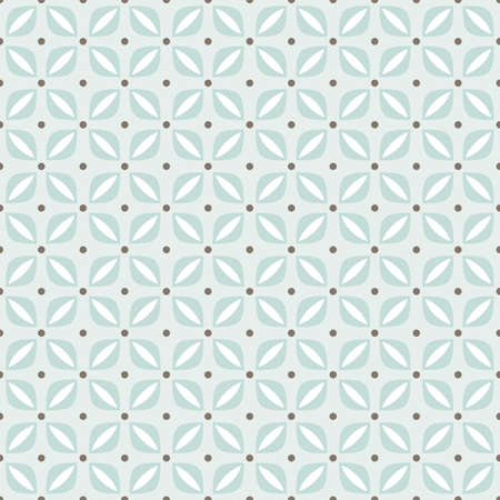 delicate blue beige brown floral shaped regular geometric elements with dots in rows on blue background seamless pattern  Vector