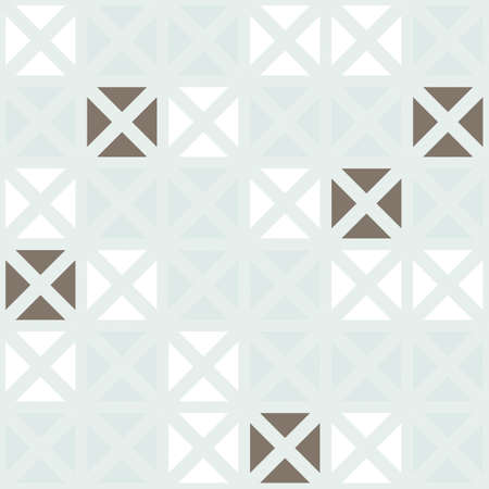 delicate blue beige brown squares made of triangles in regular rows on blue background geometric seamless pattern  Vector