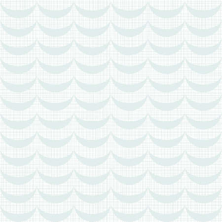 delicate light blue waves regular geometric elements in horizontal rows on white background seamless pattern  Vector