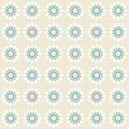 delicate beige blue turquoise flower shaped geometric round elements in regular rows on beige background seamless pattern