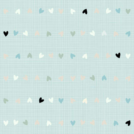 delicate blue beige white brown hearts in horizontal rows little geometric elements on blue background seamless pattern  Vector