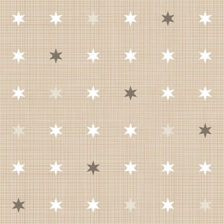 regular: delicate light little stars regular geometric elements in rows on beige background seamless pattern
