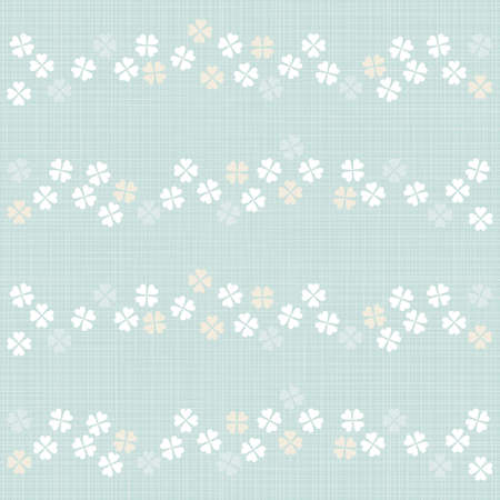 delicate light little clovers messy in stripes geometric elements in rows on blue background seamless pattern  Vector