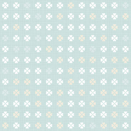 delicate light little clovers regular geometric elements in rows on blue background seamless pattern  Vector