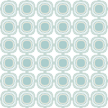delicate light beige blue retro shaped regular geometric elements in regular rows on white background seamless pattern  Vector