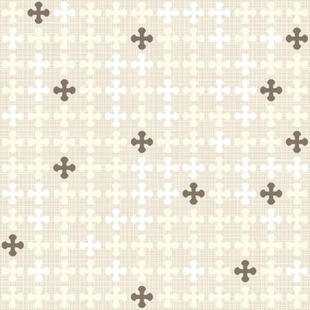 delicate beige brow and white rounded cross elements in stripes regular geometric items in rows on beige background seamless pattern Vector