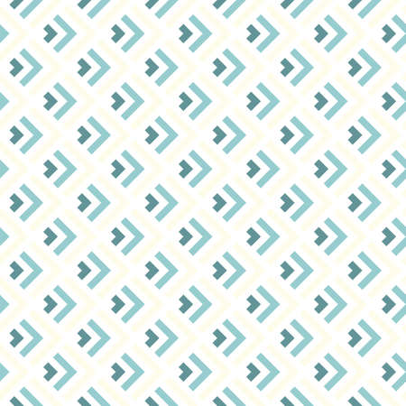 delicate blue beige turquoise arrows regular geometric elements in rows on white background seamless pattern  Vector