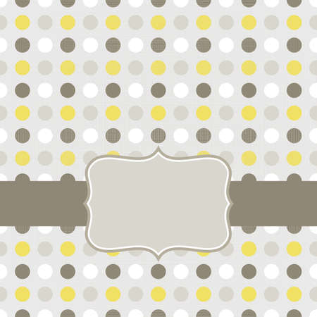 regular: colorful beige brown yellow white dots in regular rows geometrical seamless pattern on gray background with retro frame on dark ribbon scrapbook card background  Illustration