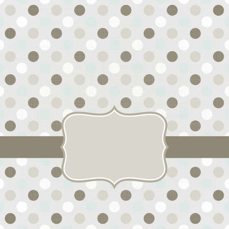 colorful beige brown blue white dots in regular rows geometrical seamless pattern on gray background with retro frame on dark ribbon scrapbook card background