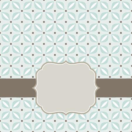 brunes éléments délicats beige bleu floraux géométriques de forme régulière avec des points dans les lignes sur fond bleu, seamless, avec cadre sur le ruban foncé sur fond de carte de scrapbook Vecteurs