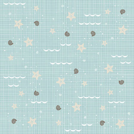 blue brown beige white seaside shells starfishes waves delicate summer holiday seamless pattern on blue background  Vector