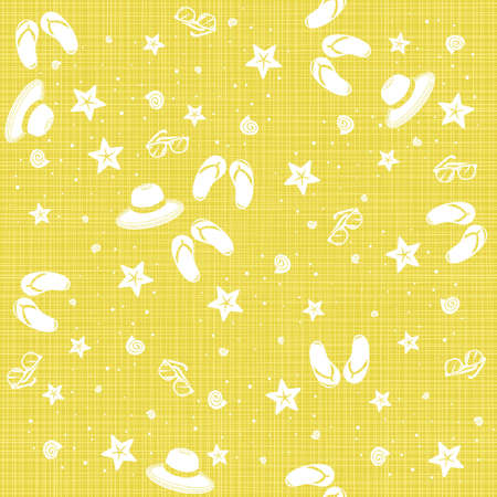 seaside beach shells starfishes flip flops sunglasses summer hats delicate summer holiday monochrome seamless pattern on yellow background  Vector