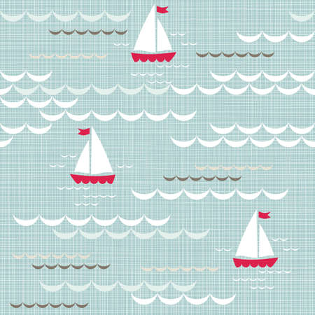 red boats on blue brown beige white sea with delicate waves summer holiday seamless pattern on blue patterned background  Illustration