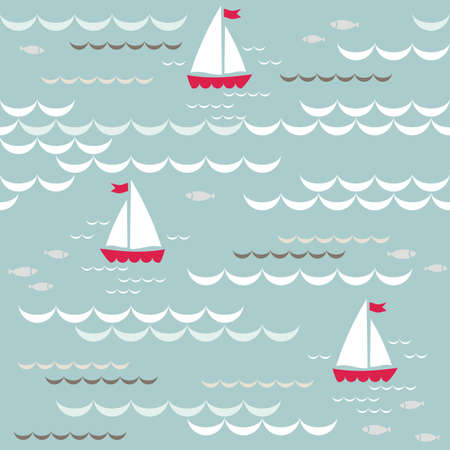 red boats on blue brown beige white sea with delicate waves and little fishes summer holiday seamless pattern on blue background Stock Vector - 20331951