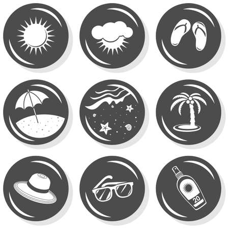 find similar images:  find similar images sun flip flops sunglasses beach palm tree hat sun protect seaside beach summer holidays monochrome gray button set with light shadow on white background vector isolated elements  Illustration