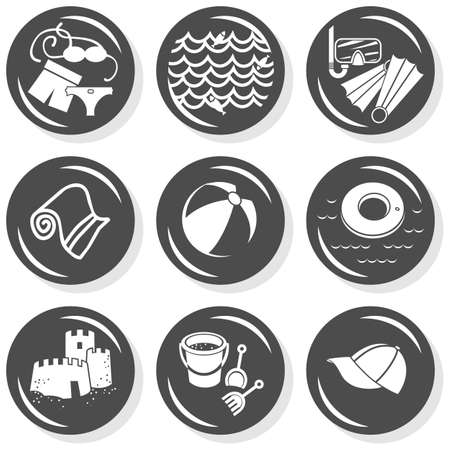 seaside beach summer holidays monochrome gray button set with light shadow on white background vector isolated elements Stock Vector - 20331959