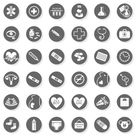 medical icons: 36 healthcare medical woman pregnancy baby monochrome isolated gray flat icon set with light shadow on white background  Illustration