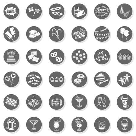 36 party time fun sweets drinks celebration monochrome isolated gray flat icon set with light shadow on white background