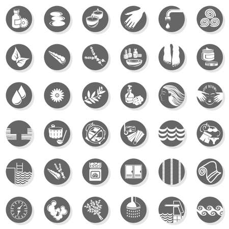 pedicure: 36 spa sauna pool relax body care monochrome isolated gray flat icon set with light shadow on white background
