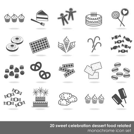 20 party celebration sweets food dessert monochrome isolated icon set on white background  Vector