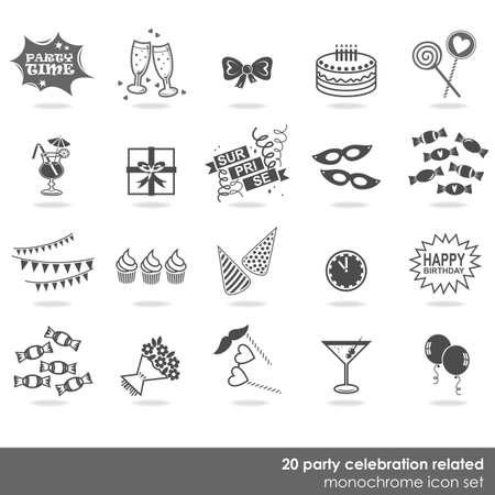 20 party celebration food drink dress decor elements monochrome isolated icon set on white background